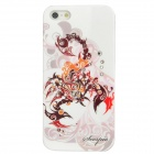Scorpio Pattern Protective ABS Back Case w/ Rhinestone for Iphone 5 - Deep Pink + White + Coffee