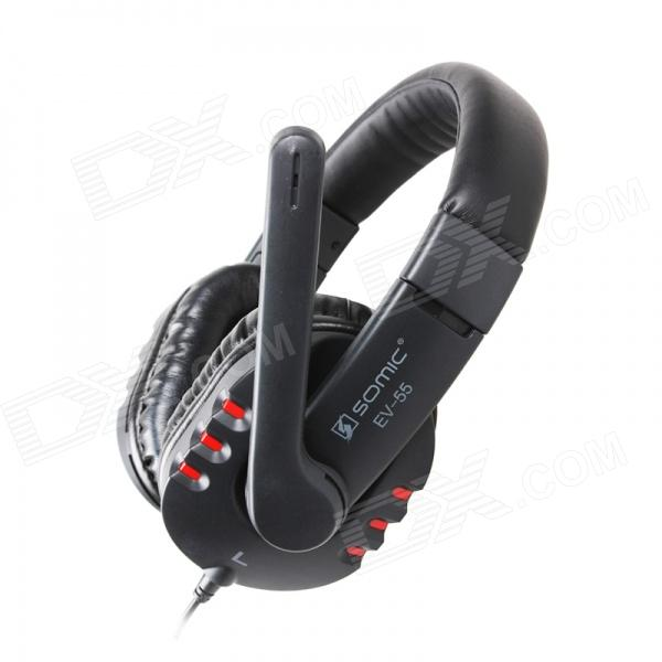 SOMiC EV-55 Dual 3.5mm Plug Headphone for PC Gaming w/ Remote / Microphone - Black + Red (250cm)