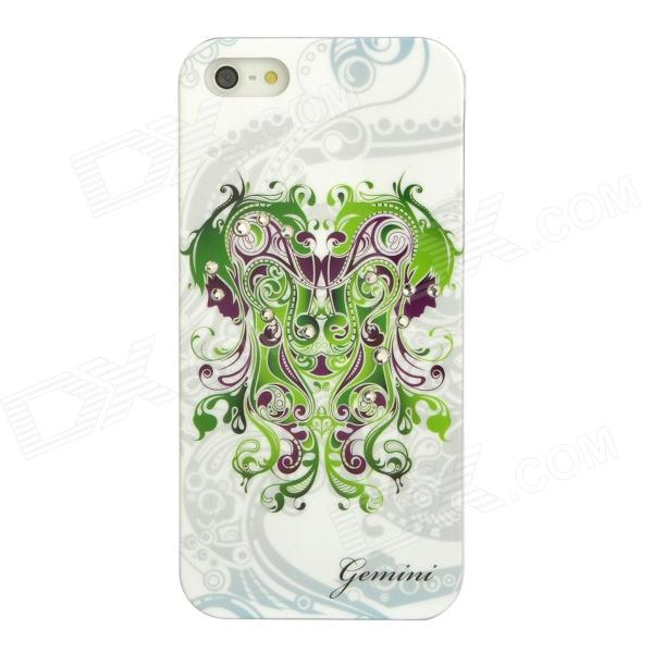 Gemini Pattern Protective ABS + PC Hard Back Case w/ Rhinestone for Iphone 5 - Green + White аксессуар защитное стекло monsterskin 5d для apple iphone 6 plus white
