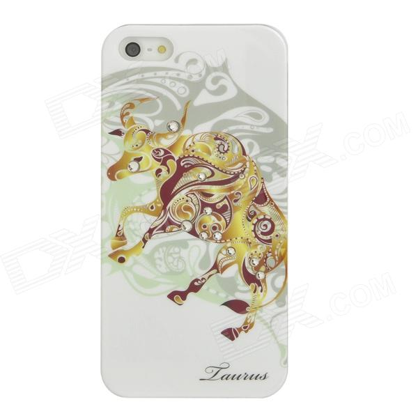 Taurus Pattern Protective ABS + PC Hard Back Case w/ Rhinestone for Iphone 5 - Golden Yellow + White leo pattern protective abs pc hard back case w rhinestone for iphone 5 brown white