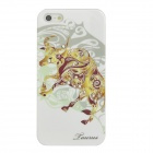 Taurus Pattern Protective ABS + PC Hard Back Case w/ Rhinestone for Iphone 5 - Golden Yellow + White
