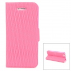 Protective PU Leather Cover Plastic Hard Back Case Stand for Iphone 5 - Pink