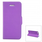 Protective PU Leather Cover Plastic Hard Back Case Stand for Iphone 5 - Purple + Plastic