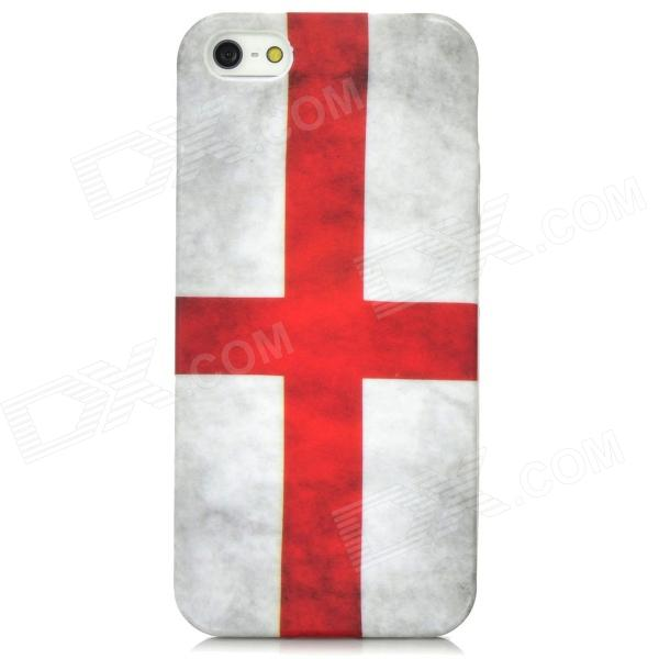 Retro England Flag Pattern Protective PVC Back Case for Iphone 5 - White + Red retro us national flag relief style protective crystalpc case for iphone 5 blue red