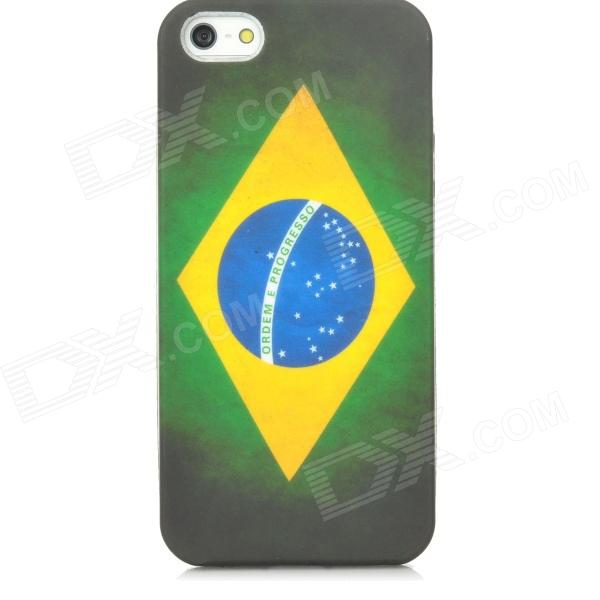 Retro Brazil Flag Protective PVC Back Case for Iphone 5 - Green + Yellow + Blue - DXPlastic Cases<br>Quantity 1 Piece Color Green + yellow + blue Material PVC Compatible Models Iphone 5 Other Features Specially designed for Iphone 5; Protects your device from scratches shock and dust; Unique and fashionable Packing List 1 x Protective back case<br>