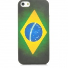 Retro Brazil Flag Protective PVC Back Case for Iphone 5 - Green + Yellow + Blue