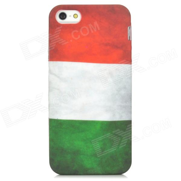 Retro Italy Flag Pattern Protective PVC Back Case for Iphone 5 - Red + White + Green protective retro american flag pattern back case for iphone 5 multicolored