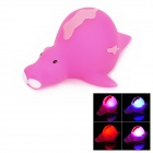 Cute Sea Horse Style Kids Funny Bathing Toy w/ Color Change Flashing LED - Deep Pink (1 x LR616)
