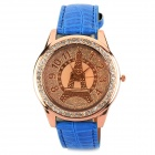 Eiffel Tower Pattern CrystalRound Dial Quartz Wrist Watch - Blue + Bronze (1 x 377)