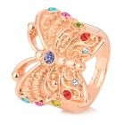 KCCHSTAR BK-R018 Butterfly Style Ring w/ Artificial Diamond for Women - Multicolored