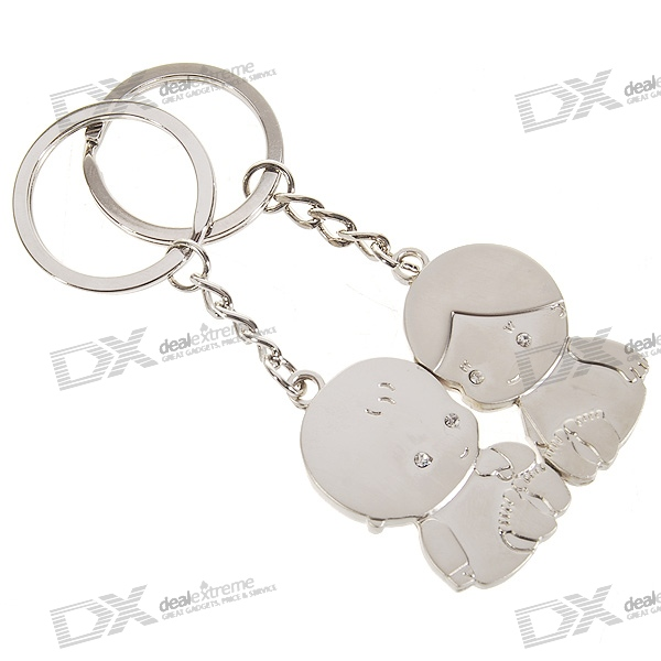 Stainless Steel Cute Crystal Kids Couple's Keychains (2-Piece Set)