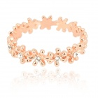 KCCHSTAR BK-R015 Flower Garland Style 18K Alloy + Artificial Diamond Ring for Women - Golden