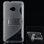 Protective S Style TPU Back Case w/ Stand for HTC One M7 - Transparent