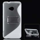 Protective TPU + Plastic Back Case w/ Stand for HTC One / HTC M7 - White + Transparent