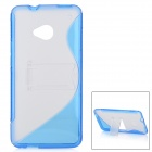 S-shape Protective TPU + Plastic Back Case w/ Stand for HTC One / M7 - Deep Blue + Translucent