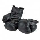 Professional PU Leather Boxing Training Gloves - Black (Pair)