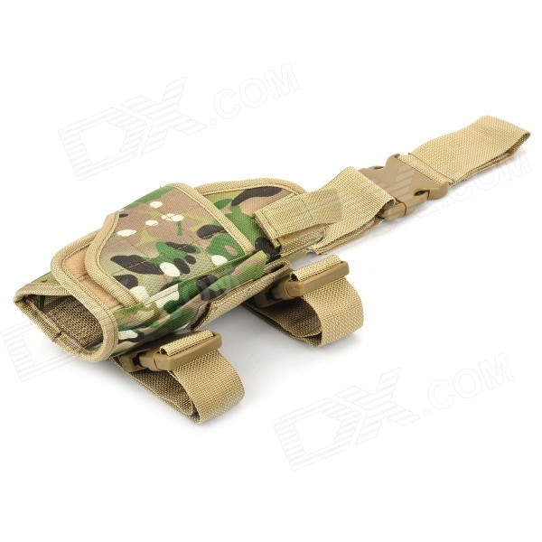 Nylon + ABS Leg Wrapping Gun Case - Camouflage GreenGun Holsters<br>Quantity1ColorCamouflageForm  ColorCamouflageMaterialNyloneSizeSPacking List<br>