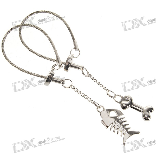 Stainless Steel Fish-and-Bone Keychains (2-Piece Set)