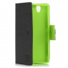 Protective PU Leather + TPU Case for SONY L36H - Black + Green