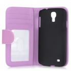 Protective PU + Plastic Flip-open Case w/ Stand for Samsung Galaxy S4 i9500 - Purple + Black