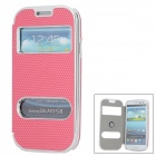 Protective Plastic + Imitation Leather Case for Samsung i9300 / i9308d - Watermelon Red + Silver