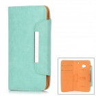 Protective PU Leather Flip-open Case w/ Strap for HTC M7 - Aquamarine