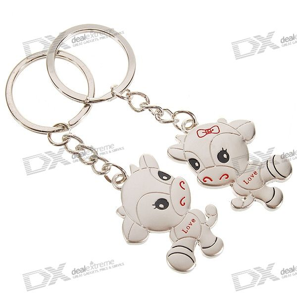 Stainless Steel Year-of-Cow Couple's Keychains (2-Piece Set) new in stock v375c24t150bg