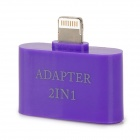 2-in-1 30-Pin / Micro USB Female to Lightning 8-Pin Male Adapter for iPhone 5 - Purple