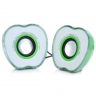 AS-L-G Cute Apple Shape Seven-Color USB Power 2 x 3W Speakers - Green + White (3.5mm Plug)