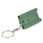 Unique Tank Style LED White Light Flashlight Keychain - Dark Green (3 x AG10)