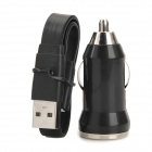DM-8 USB Male to Lightning 8-Pin Flat Data Cable + Car Charger Set for iPhone 5 / iPad 4 - Black