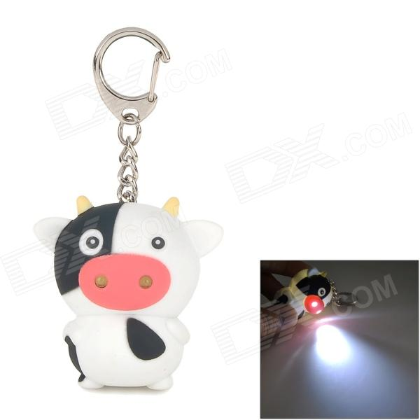 Cute Cow Plastic 2-LED White Light Keychain w/ Sound Effect - White + Black + Pink (3 x AG10) galenson white servitude in colonial america