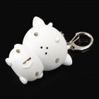 Cute Cow Plastic 2-LED White Light Keychain w/ Sound Effect - White + Black + Pink (3 x AG10)
