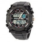 AK1275 Waterproof Sport Acrylic Dial Rubber Band Quartz Analog + Digital Men's Wrist Watch - Black