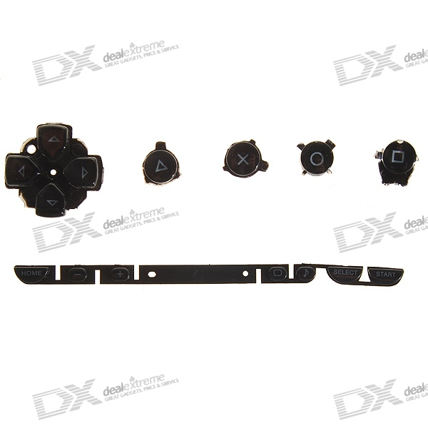 Repair Parts Replacement Buttons for PSP Phat/1000 (Black)