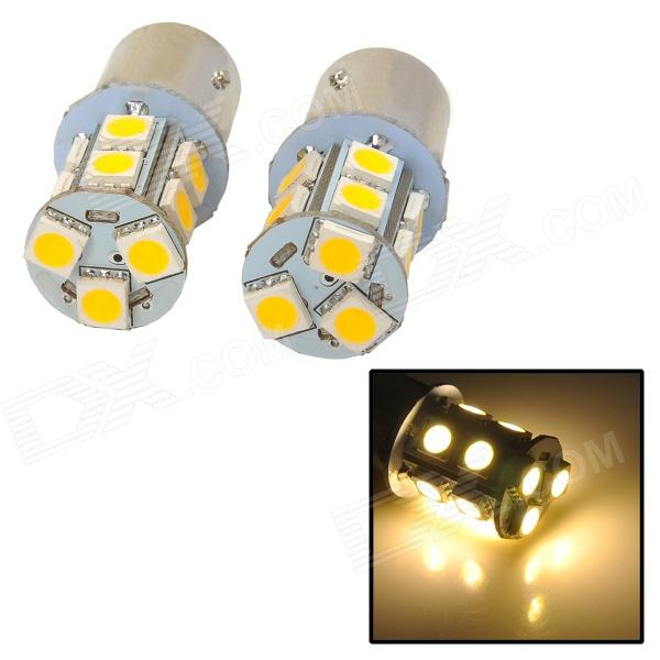 115750-13WN 1157 2.3W 250lm 13-SMD 5050 LED Warm White Light Car Lamps - (DC 12V / 2 PCS) 115750 13w 1157 2 3w 250lm 13 smd 5050 led white car steering brake tail backup lights