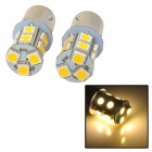 115750-13WN 1157 2.3W 250lm 13-SMD 5050 LED Warm White Light Car Lamps - (DC 12V / 2 PCS)