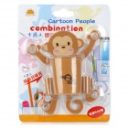 Cartoon Monkey Style Plastic Toothpaste / Toothbrush Suction cup Holder - Orange
