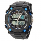 AK1275 Waterproof Sport Quartz Analog + Digital Men's Wrist Watch - Black + Blue