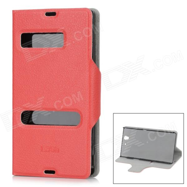 Protective PU Leather Flip Open Case for Sony L36H Xperia Z C6603 / C660x / L36i - Red protective flip open pu leather case for nokia 1520 red
