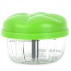 Mini Kitchen Manual Rotating Stainless Steel Blade Vegetables / Fruit Chopper - Green