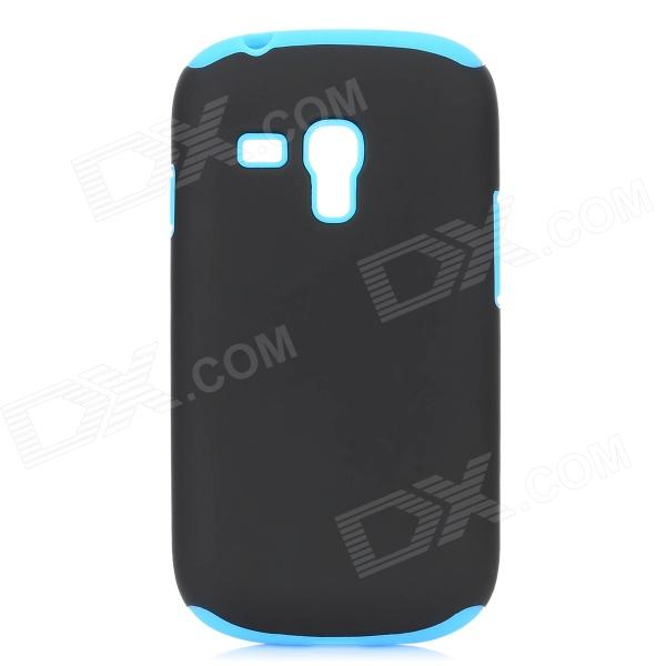 Protective Plastic + Silicone Case for Samsung i8190 - Black + Blue