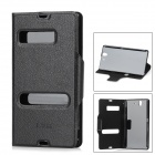 Protective PU Leather Flip Open Case for Sony L36H Xperia Z C6603 / C660x / L36i - Black