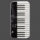 Colorfilm Piano Pattern Protective Plastic Back Case for Iphone 4 / 4S - White + Black