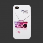 Colorfilm Tape Recorder Pattern Protective Plastic Back Case for Iphone 4 / 4S - White + Purple