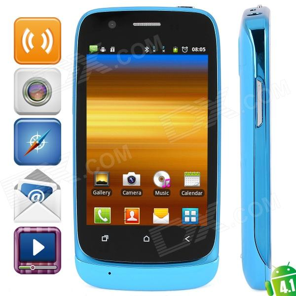 "G1 Android 4.0 GSM Bar Phone w/ 3.6"" Capacitive Screen, Quad-Band, Wi-Fi and Dual-SIM - Blue"