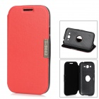 Rotational PU Leather + ABS Stand Case for Samsung i9082 - Red + Black