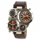 Dual Dial Zinc Alloy Casing PU Band Quartz Analog Men's Wrist Watch - Brown