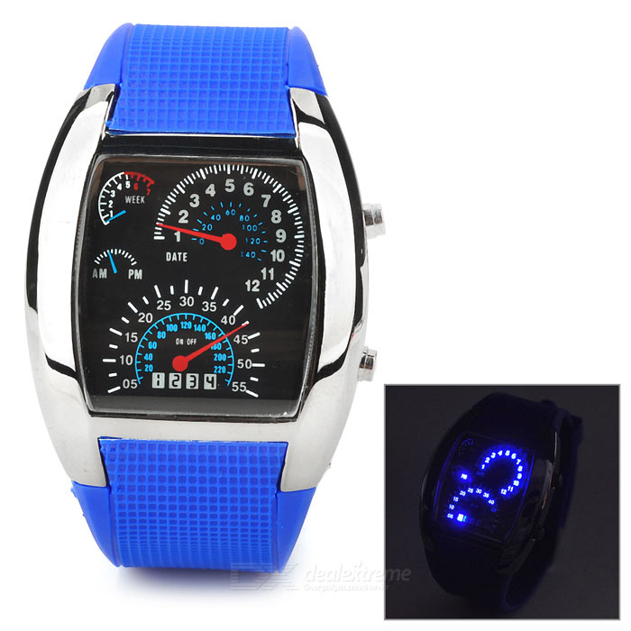 44-LED Instrument Style Display Stainless Steel Wrist Watch - Blue (1 x CR2032)