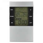 "HTC-2 3.1"" LCD Plastic Electronic Household Thermometer / Hygrometer / Clock - Silver + Black"